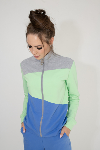 Фуфайка на молнии Calipso APF-120 Голубой/Фисташковый/Меланж